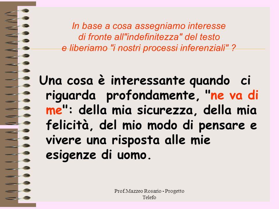 Prof.Mazzeo Rosario - Progetto Telefo 1.2. Esperienza, motivazione ed interesse