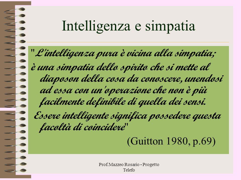 Prof.Mazzeo Rosario - Progetto Telefo Studio e comprensione empatica 1 Nello studio la comprensione empatica assume la forma della ricerca continua di