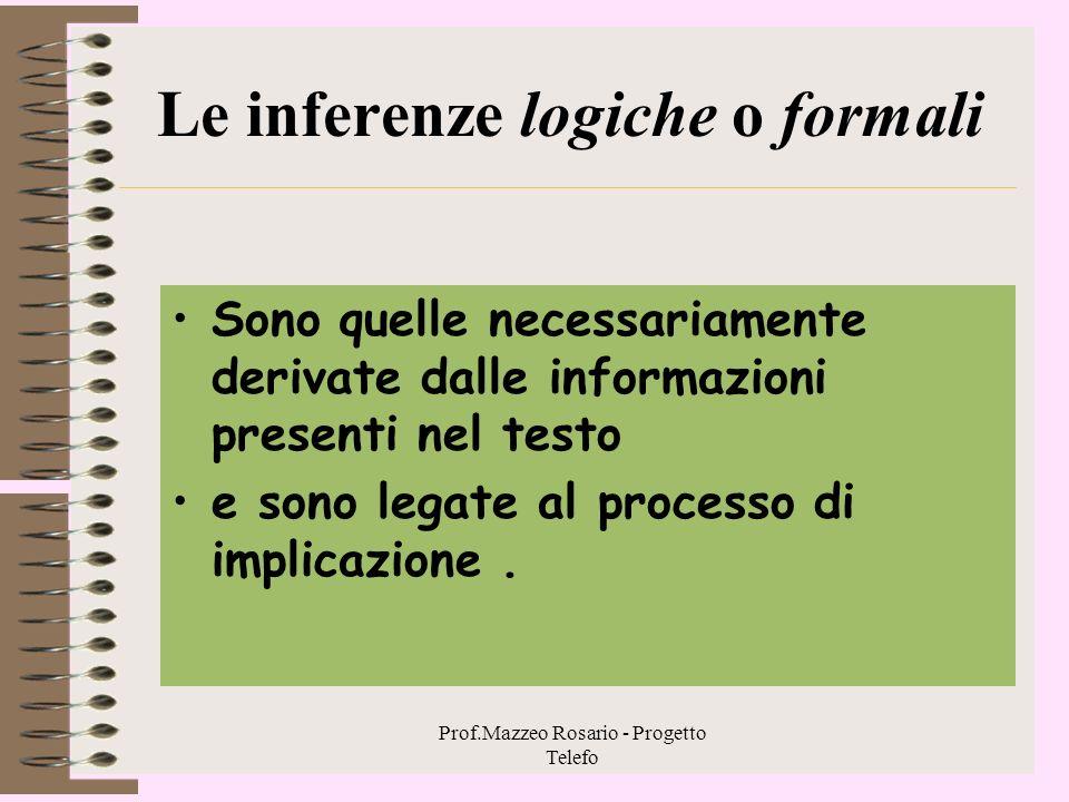 Prof.Mazzeo Rosario - Progetto Telefo 2. 3 - La comprensione inferenziale Le inferenze sono