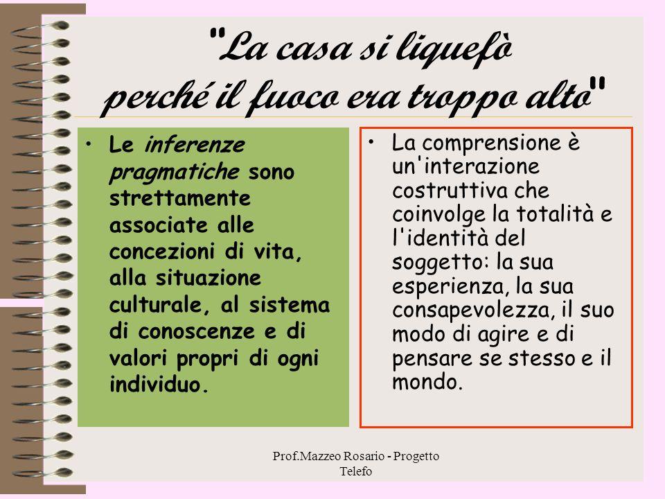 Prof.Mazzeo Rosario - Progetto Telefo Le inferenze logiche o formali Sono quelle necessariamente derivate dalle informazioni presenti nel testo e sono