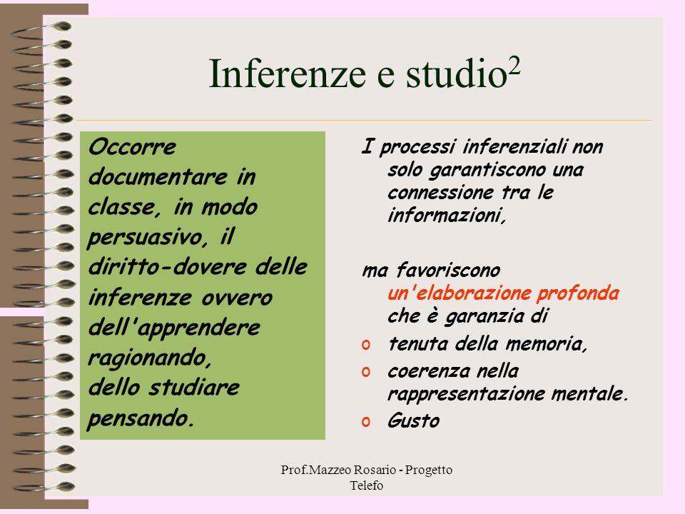 Prof.Mazzeo Rosario - Progetto Telefo Inferenze e studio 1 Leggiamo il seguente capoverso di una pagina di un testo di seconda media :