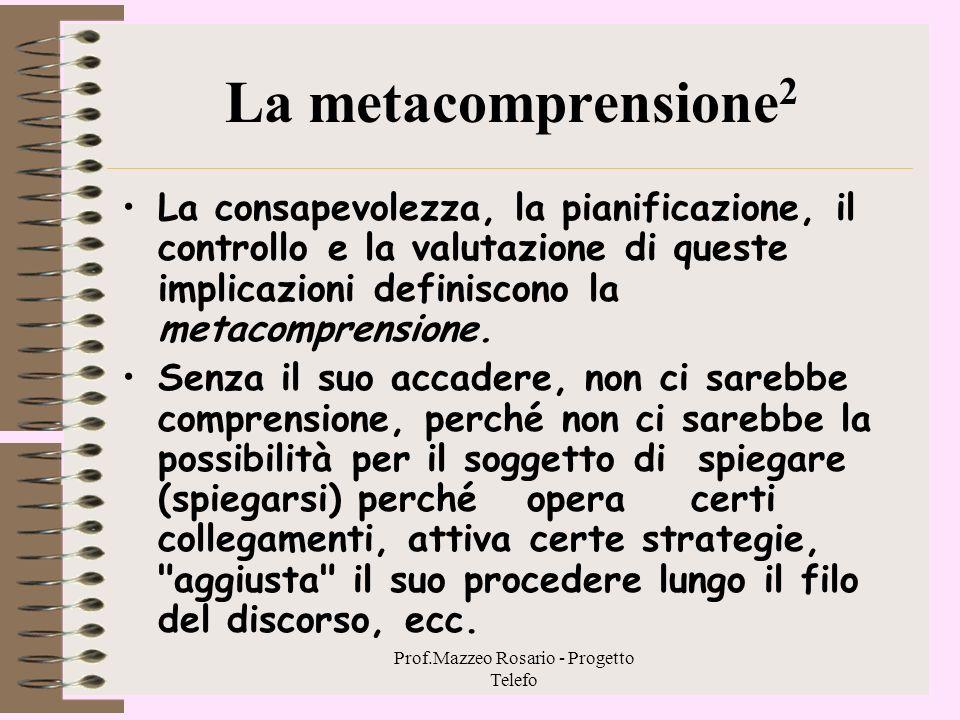 Prof.Mazzeo Rosario - Progetto Telefo 2. 2. 5 - La metacomprensione 1 oIl comprendere non è un processo stocastico, ma interazione personale dell'io c