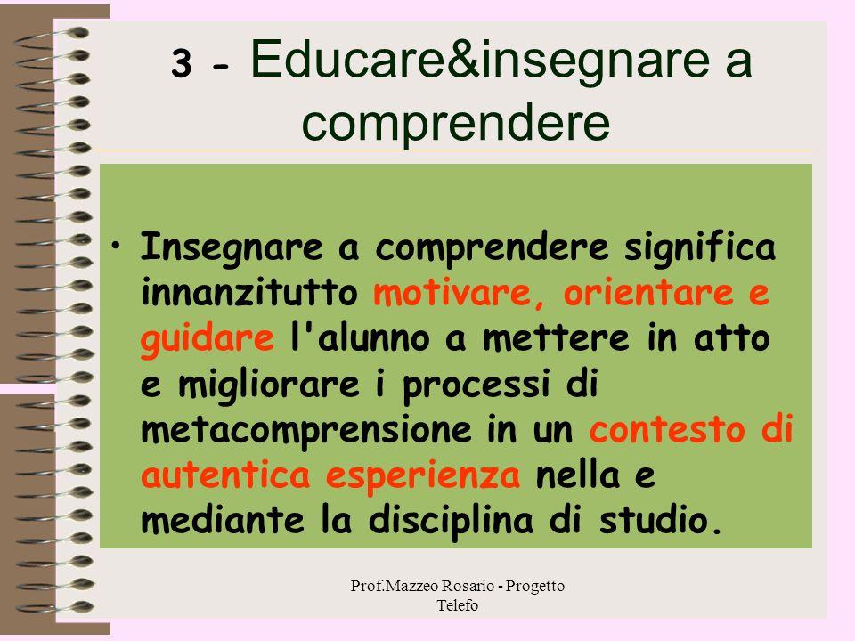 Prof.Mazzeo Rosario - Progetto Telefo La metacomprensione 2 La consapevolezza, la pianificazione, il controllo e la valutazione di queste implicazioni