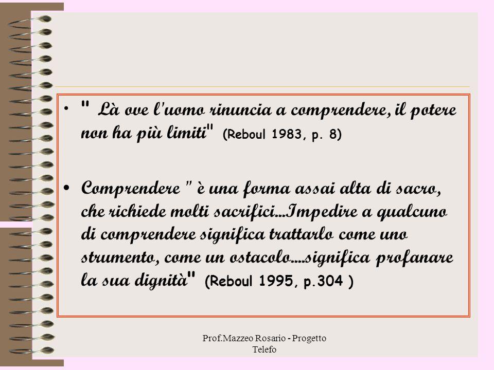 Prof.Mazzeo Rosario - Progetto Telefo Chi ama l'uomo e la sua libertà Non può rassegnarsi alla stupidità nell'apprendimento insegnato.. Non può essere