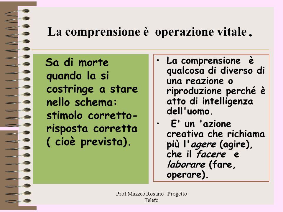 Prof.Mazzeo Rosario - Progetto Telefo 3.1 - Il comprendere un processo profondamente personale C'è nell'idea di comprensione una zona ineliminabile di