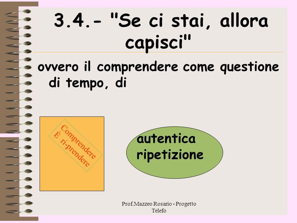 Prof.Mazzeo Rosario - Progetto Telefo 3.3 - Descrittori del comprendere 1- Comprendere è accogliere 2- Comprendere è con-rispondere. La comprensione: