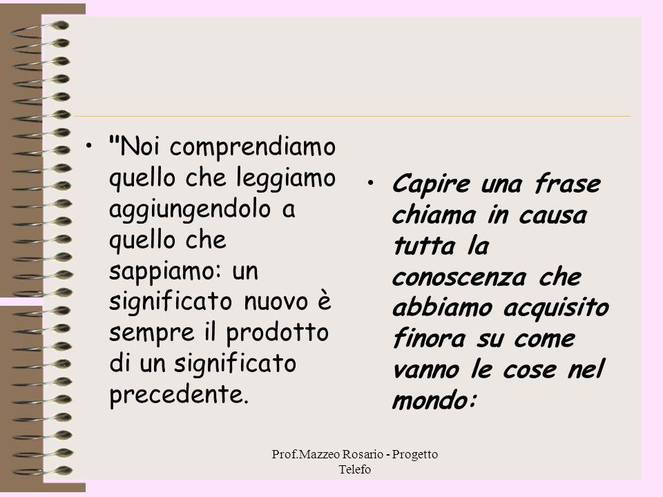 Prof.Mazzeo Rosario - Progetto Telefo Comprensione come incontro Noi imponiamo al testo un nostro discorso, lo comprendiamo in quanto lo assumiamo nel