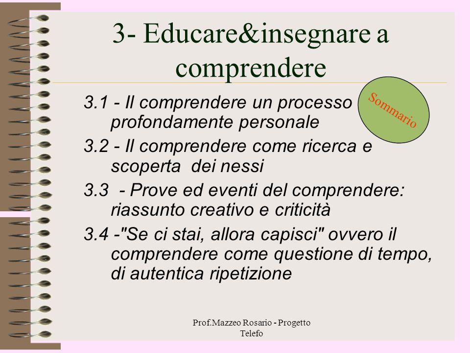 Prof.Mazzeo Rosario - Progetto Telefo 2 – Forme e descrittori –2.1. - Forme di comprensione 2. 1.1. - La comprensione empatica 2. 1.2 - La comprension