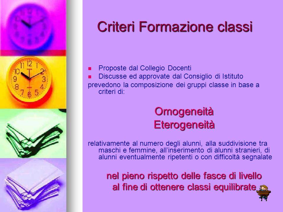 Criteri Formazione classi Proposte dal Collegio Docenti Discusse ed approvate dal Consiglio di Istituto prevedono la composizione dei gruppi classe in