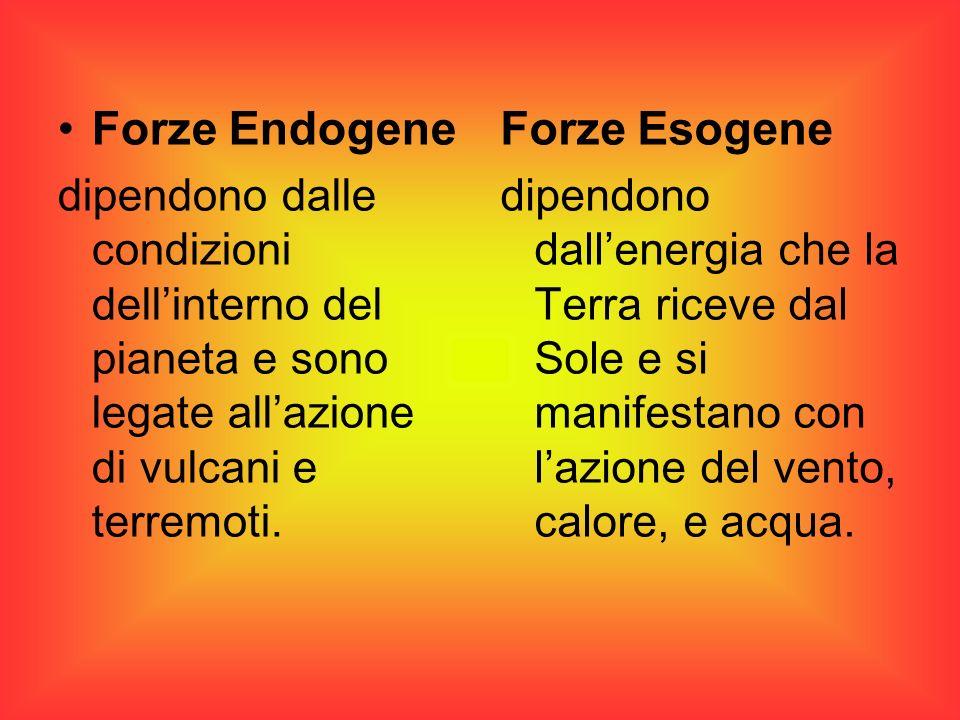 Forze Endogene dipendono dalle condizioni dellinterno del pianeta e sono legate allazione di vulcani e terremoti. Forze Esogene dipendono dallenergia