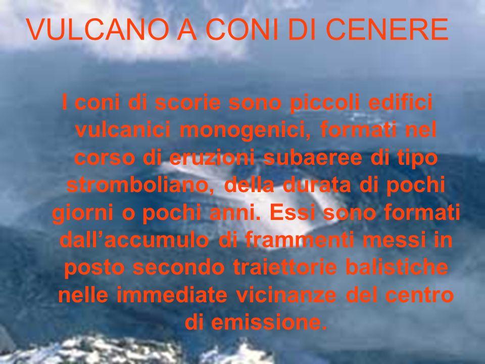 VULCANO A CONI DI CENERE I coni di scorie sono piccoli edifici vulcanici monogenici, formati nel corso di eruzioni subaeree di tipo stromboliano, dell