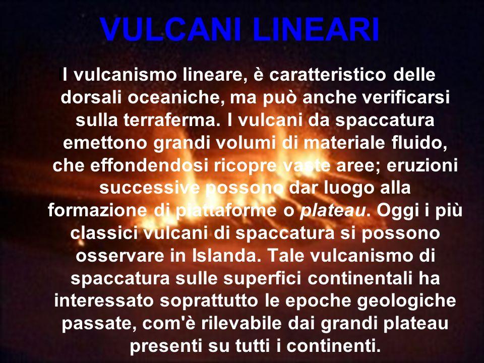 VULCANI LINEARI Il vulcanismo lineare, è caratteristico delle dorsali oceaniche, ma può anche verificarsi sulla terraferma. I vulcani da spaccatura em