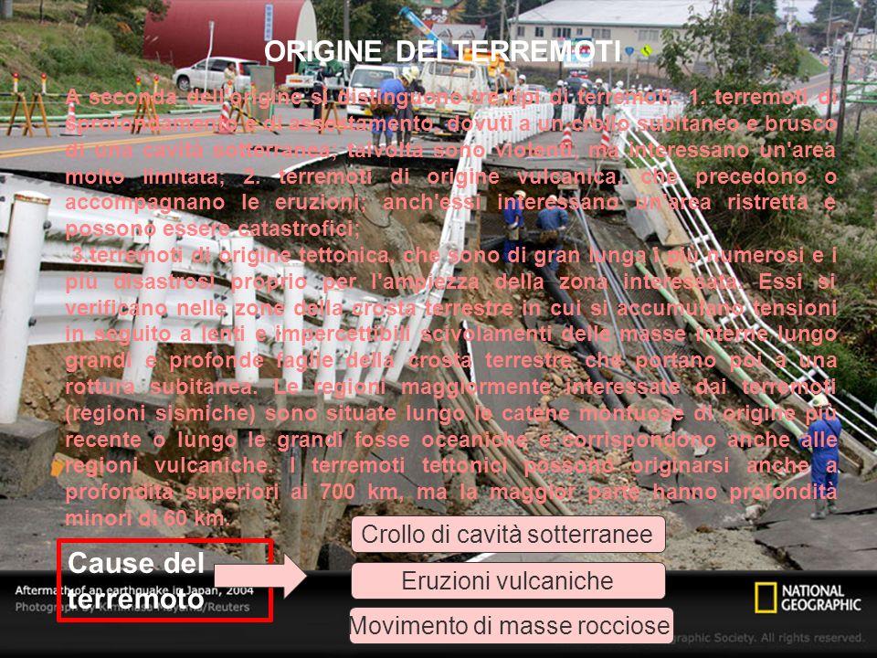 A seconda dell'origine si distinguono tre tipi di terremoti: 1. terremoti di sprofondamento e di assestamento, dovuti a un crollo subitaneo e brusco d