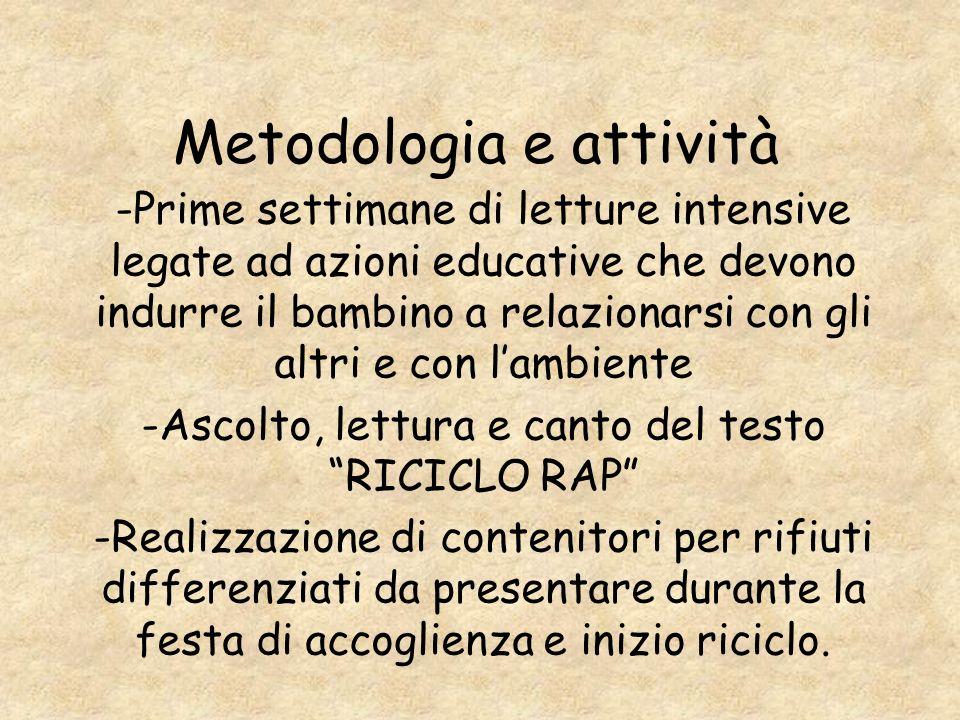Metodologia e attività -Prime settimane di letture intensive legate ad azioni educative che devono indurre il bambino a relazionarsi con gli altri e c