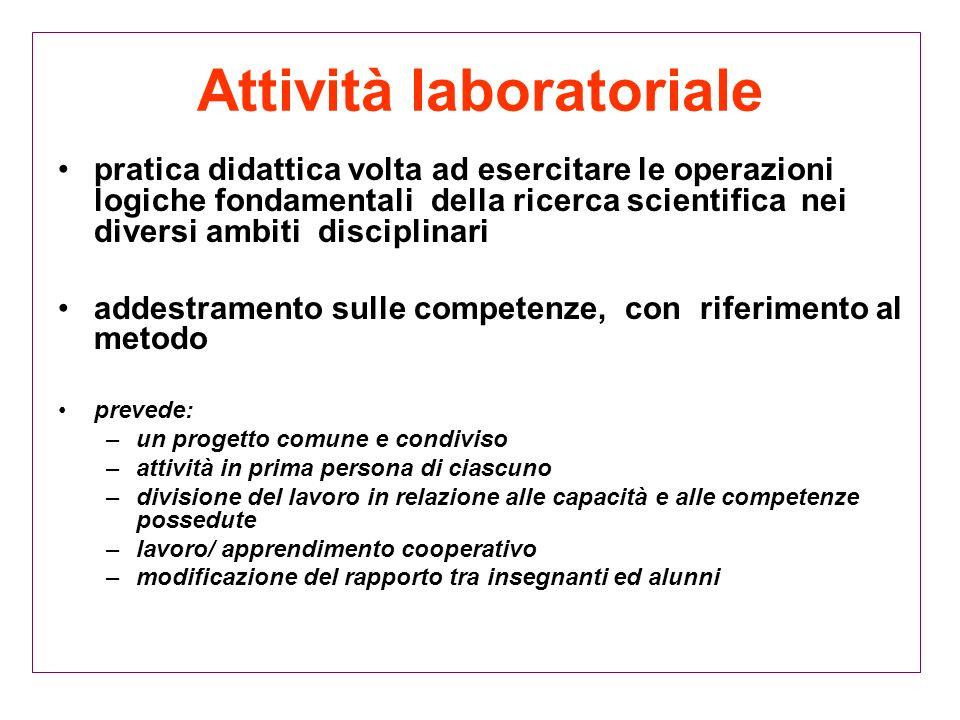 Attività laboratoriale pratica didattica volta ad esercitare le operazioni logiche fondamentali della ricerca scientifica nei diversi ambiti disciplin