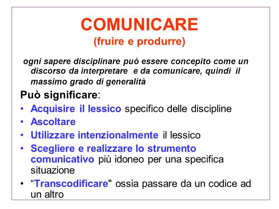 COMUNICARE (fruire e produrre) ogni sapere disciplinare può essere concepito come un discorso da interpretare e da comunicare, quindi il massimo grado