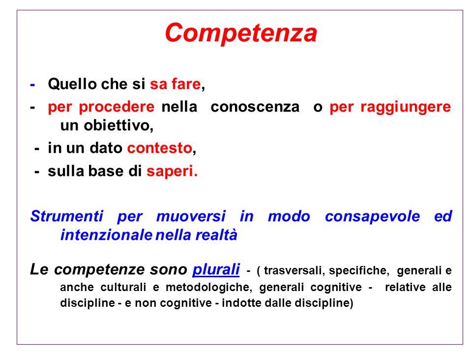 Competenza - Quello che si sa fare, - per procedere nella conoscenza o per raggiungere un obiettivo, - in un dato contesto, - sulla base di saperi. St