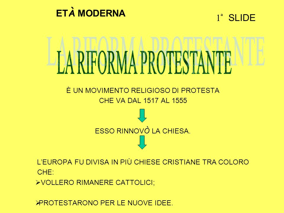 È UN MOVIMENTO RELIGIOSO DI PROTESTA CHE VA DAL 1517 AL 1555 ESSO RINNOV Ò LA CHIESA. LEUROPA FU DIVISA IN PIÙ CHIESE CRISTIANE TRA COLORO CHE: VOLLER