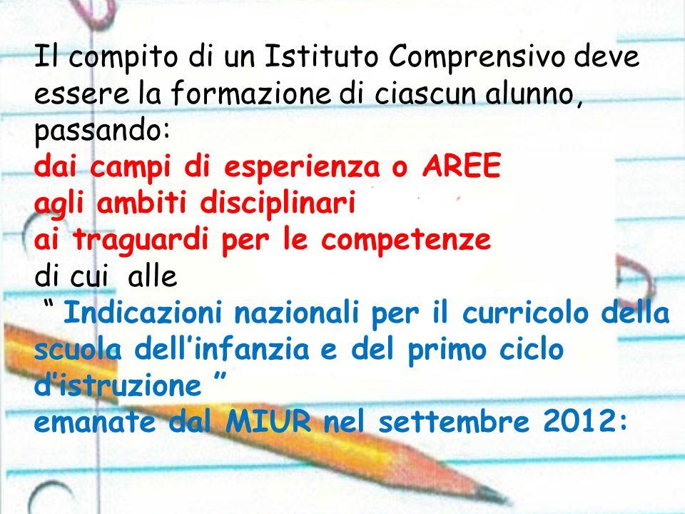 Il compito di un Istituto Comprensivo deve essere la formazione di ciascun alunno, passando: dai campi di esperienza o AREE agli ambiti disciplinari a