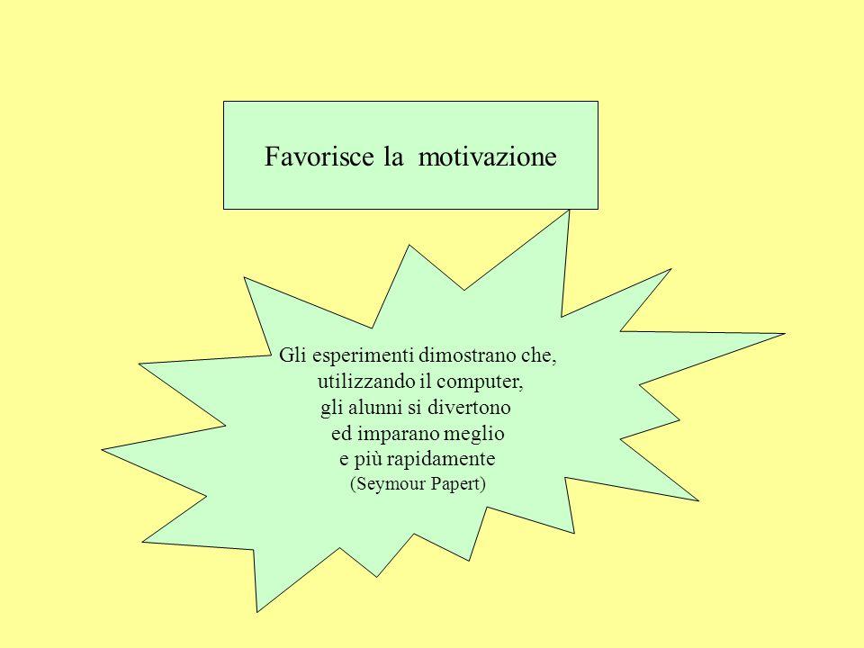 Favorisce la motivazione Gli esperimenti dimostrano che, utilizzando il computer, gli alunni si divertono ed imparano meglio e più rapidamente (Seymour Papert)