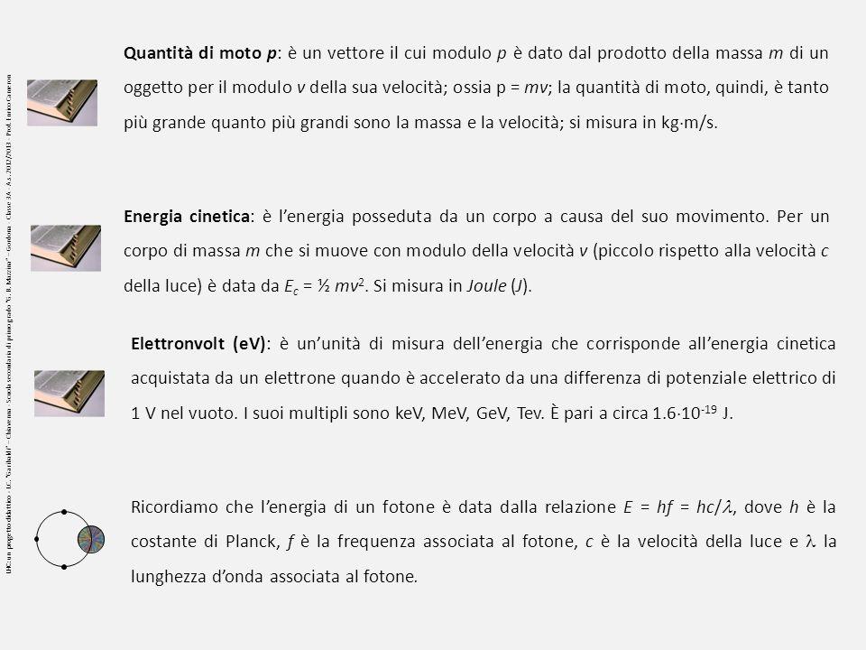 Quantità di moto p: è un vettore il cui modulo p è dato dal prodotto della massa m di un oggetto per il modulo v della sua velocità; ossia p = mv; la