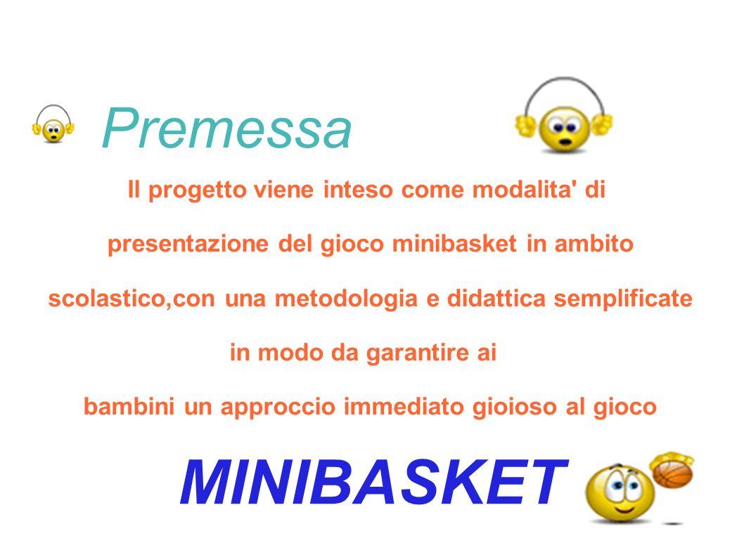Premessa Il progetto viene inteso come modalita' di presentazione del gioco minibasket in ambito scolastico,con una metodologia e didattica semplifica