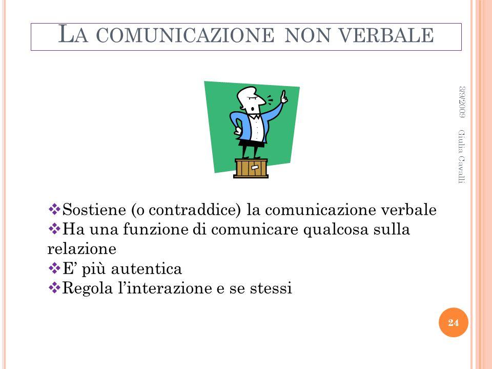 L A COMUNICAZIONE NON VERBALE Sostiene (o contraddice) la comunicazione verbale Ha una funzione di comunicare qualcosa sulla relazione E più autentica