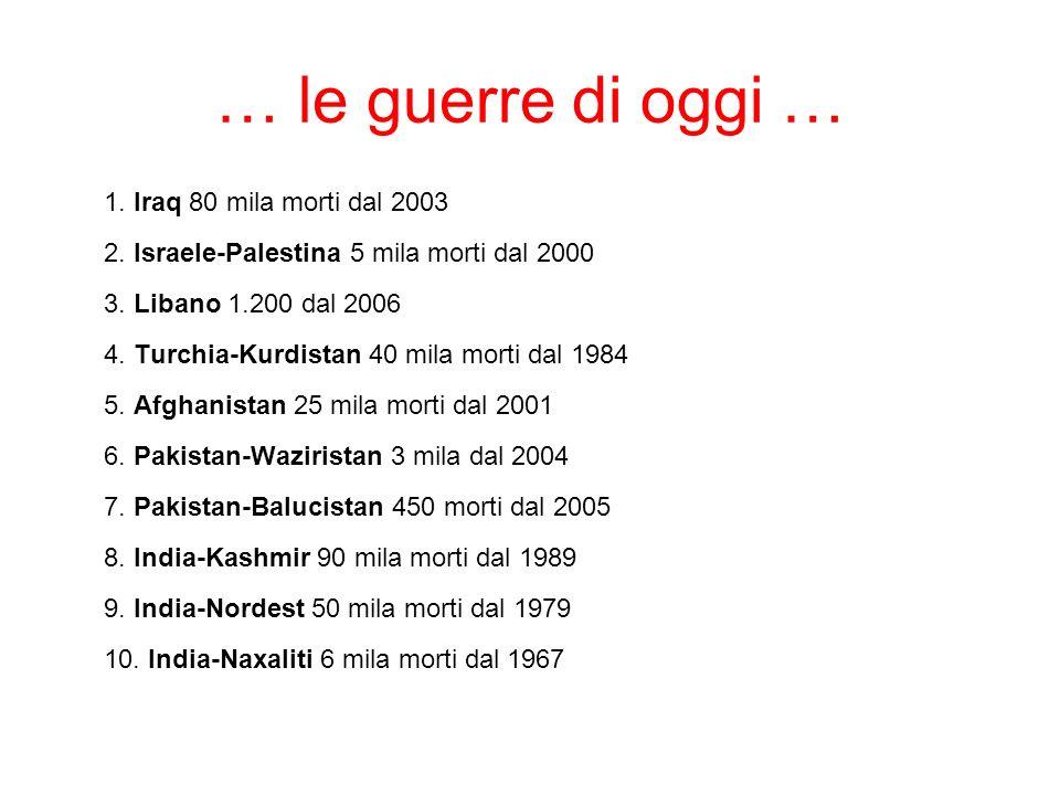 … le guerre di oggi … 1. Iraq 80 mila morti dal 2003 2. Israele-Palestina 5 mila morti dal 2000 3. Libano 1.200 dal 2006 4. Turchia-Kurdistan 40 mila