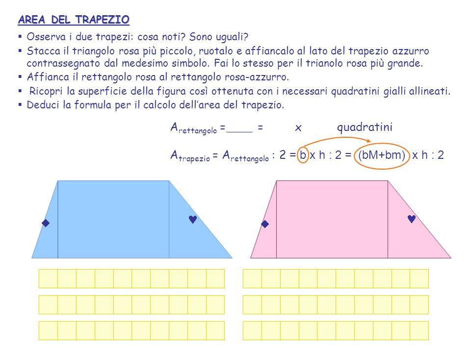 AREA DEL TRAPEZIO Osserva i due trapezi: cosa noti? Sono uguali? Stacca il triangolo rosa più piccolo, ruotalo e affiancalo al lato del trapezio azzur