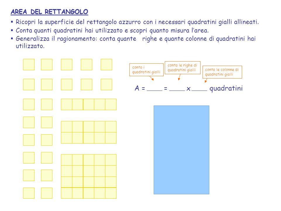 AREA DEL RETTANGOLO Ricopri la superficie del rettangolo azzurro con i necessari quadratini gialli allineati. Conta quanti quadratini hai utilizzato e