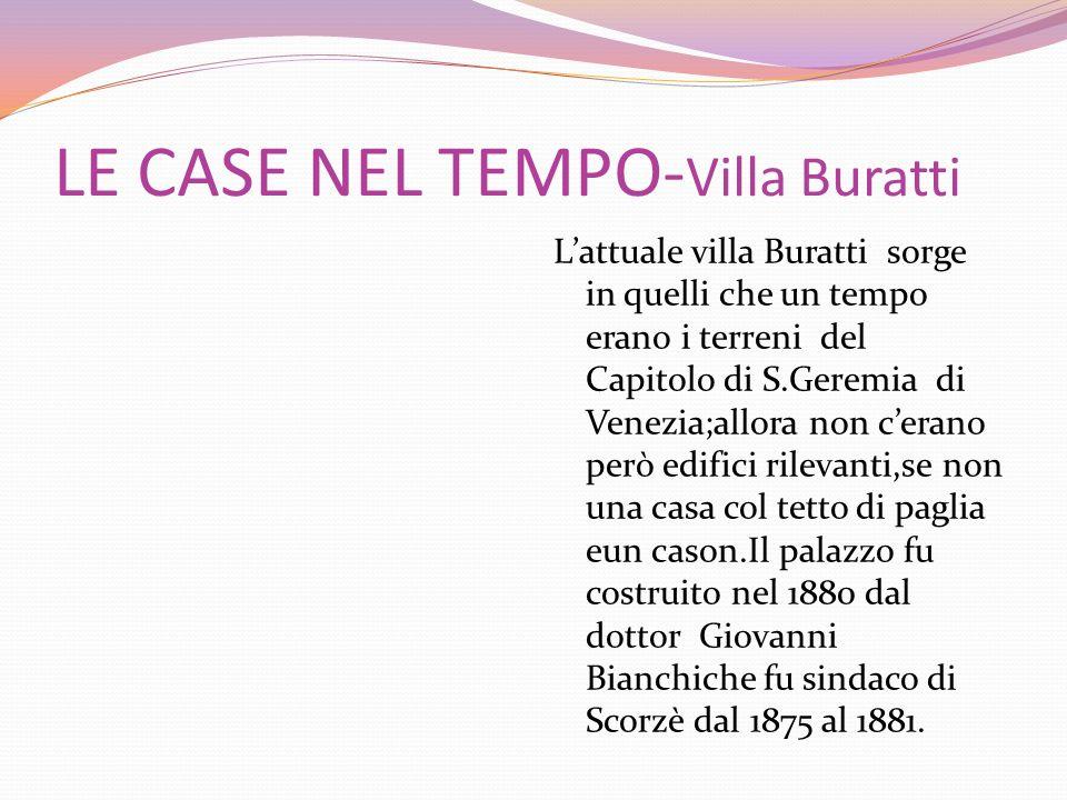 LE CASE NEL TEMPO- Villa Buratti Lattuale villa Buratti sorge in quelli che un tempo erano i terreni del Capitolo di S.Geremia di Venezia;allora non c