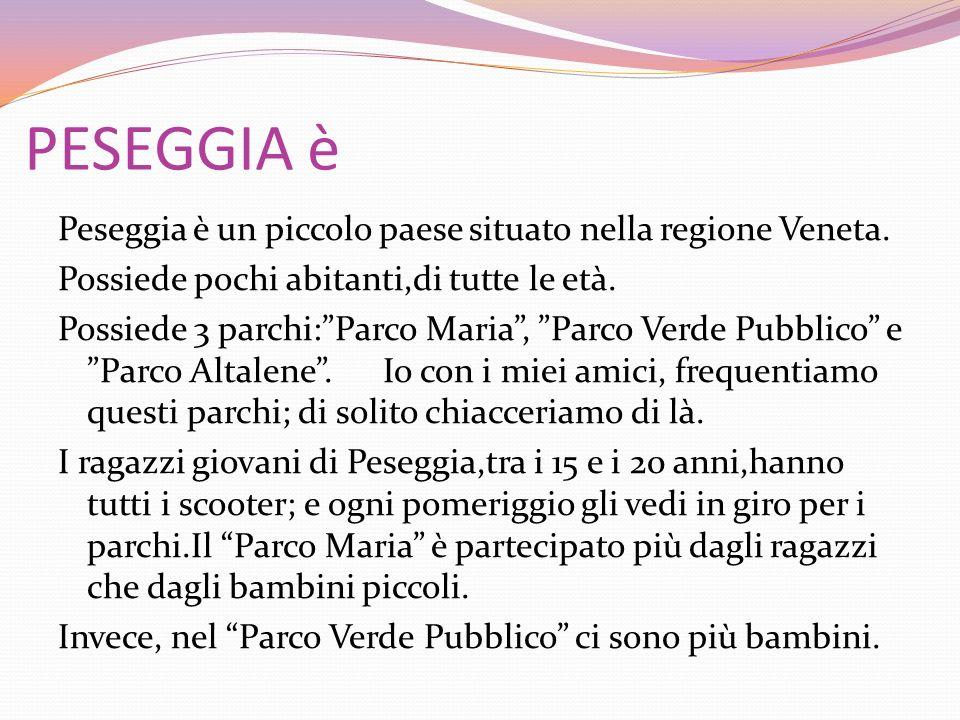 PESEGGIA è Peseggia è un piccolo paese situato nella regione Veneta. Possiede pochi abitanti,di tutte le età. Possiede 3 parchi:Parco Maria, Parco Ver