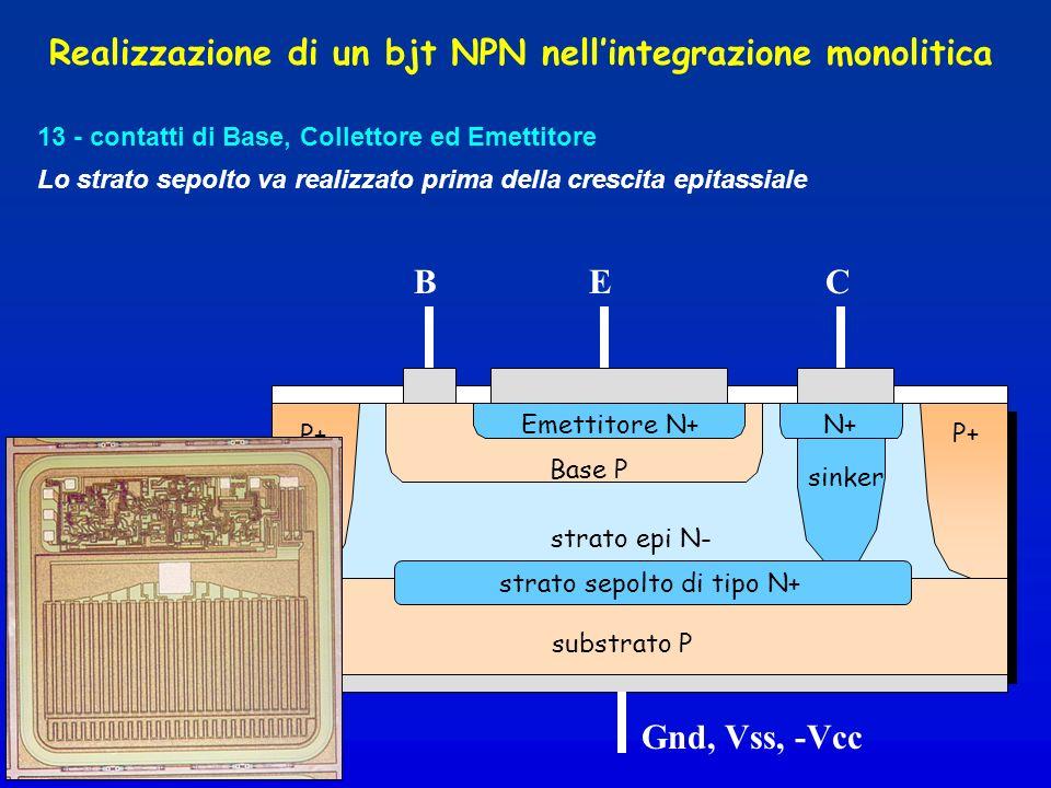 13 - contatti di Base, Collettore ed Emettitore strato epi N- substrato P Realizzazione di un bjt NPN nellintegrazione monolitica Base P Emettitore N+ sinker N+ BEC Gnd, Vss, -Vcc strato sepolto di tipo N+ Lo strato sepolto va realizzato prima della crescita epitassiale P+