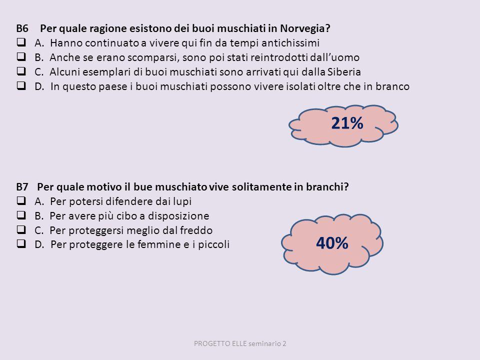 B6 Per quale ragione esistono dei buoi muschiati in Norvegia? A. Hanno continuato a vivere qui fin da tempi antichissimi B. Anche se erano scomparsi,