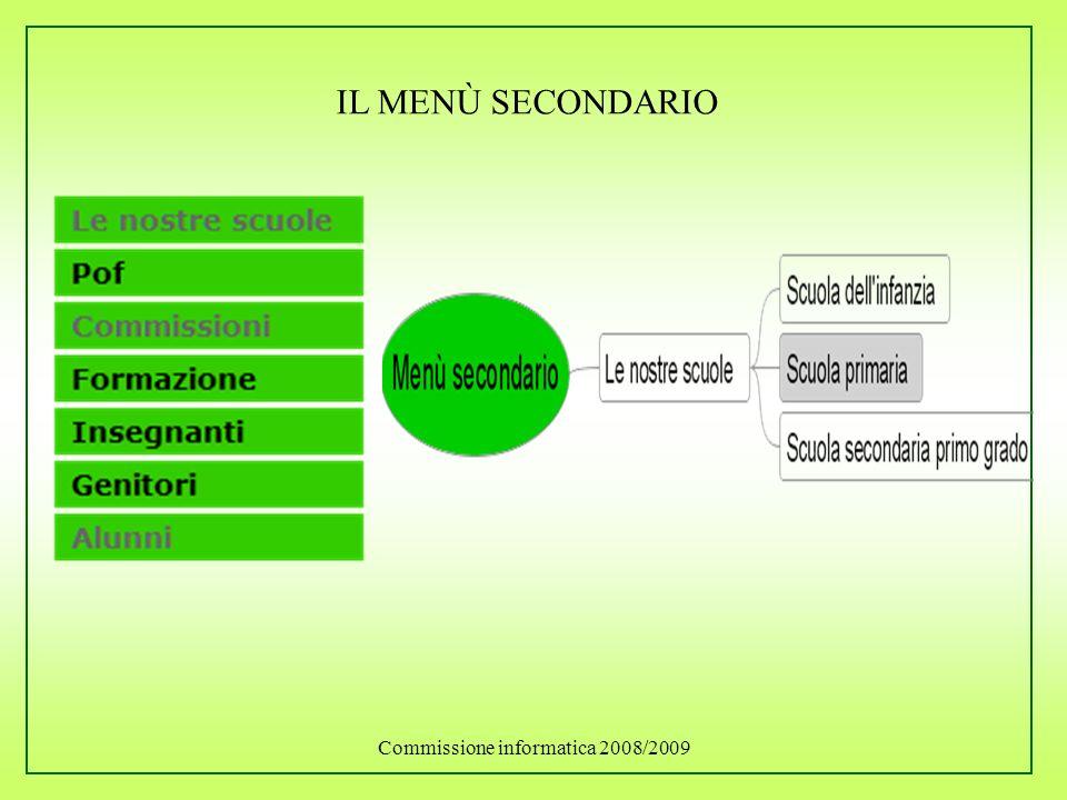 Commissione informatica 2008/2009 IL MENÙ SECONDARIO