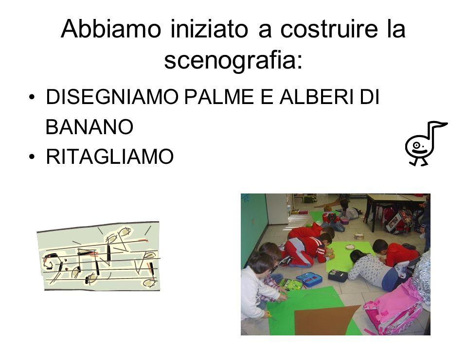 Abbiamo iniziato a costruire la scenografia: DISEGNIAMO PALME E ALBERI DI BANANO RITAGLIAMO