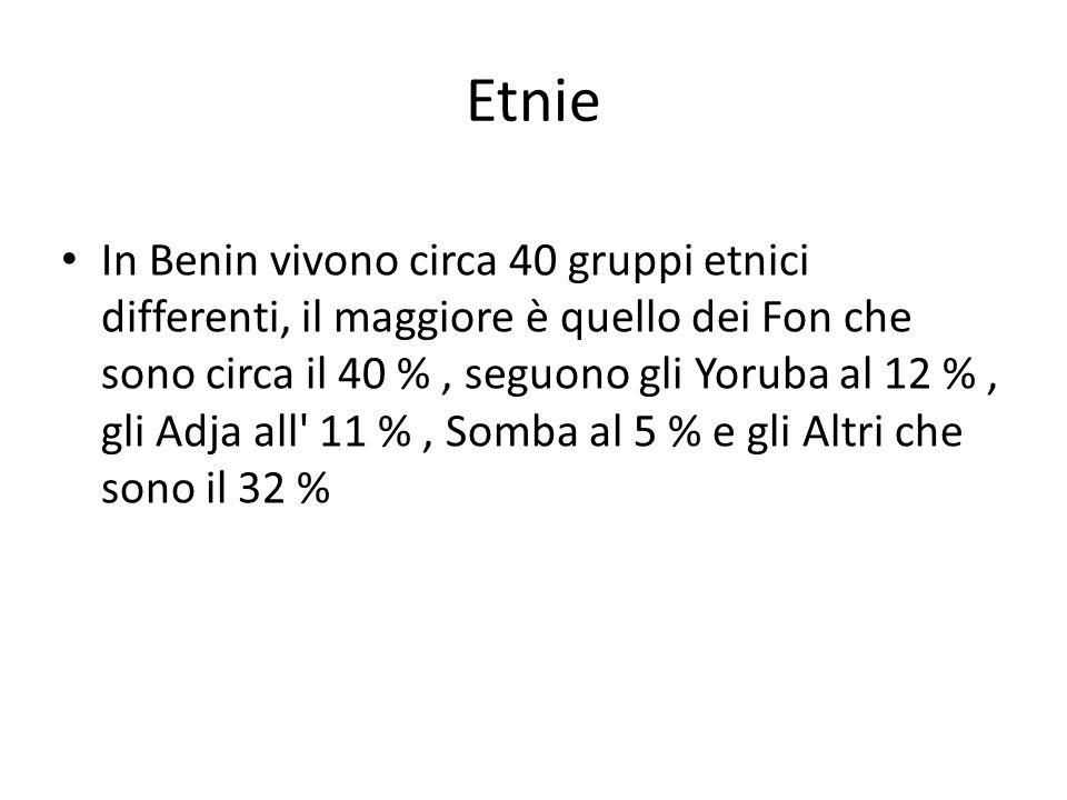 In Benin vivono circa 40 gruppi etnici differenti, il maggiore è quello dei Fon che sono circa il 40 %, seguono gli Yoruba al 12 %, gli Adja all' 11 %
