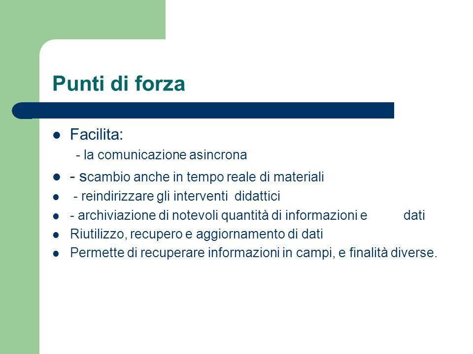 Punti di forza Facilita: - la comunicazione asincrona - s cambio anche in tempo reale di materiali - reindirizzare gli interventi didattici - archivia