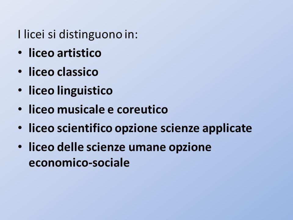I licei si distinguono in: liceo artistico liceo classico liceo linguistico liceo musicale e coreutico liceo scientifico opzione scienze applicate lic
