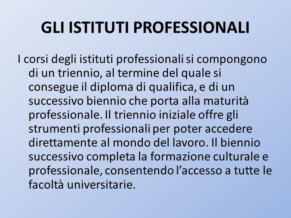 GLI ISTITUTI PROFESSIONALI I corsi degli istituti professionali si compongono di un triennio, al termine del quale si consegue il diploma di qualifica