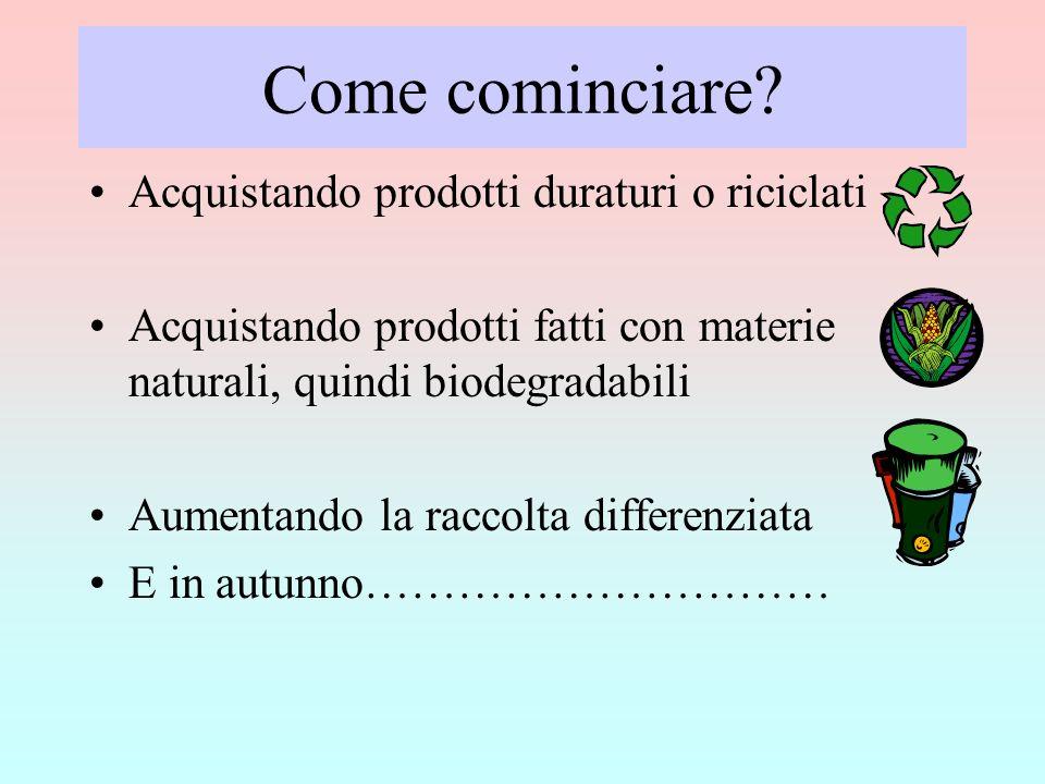 Come cominciare? Acquistando prodotti duraturi o riciclati Acquistando prodotti fatti con materie naturali, quindi biodegradabili Aumentando la raccol