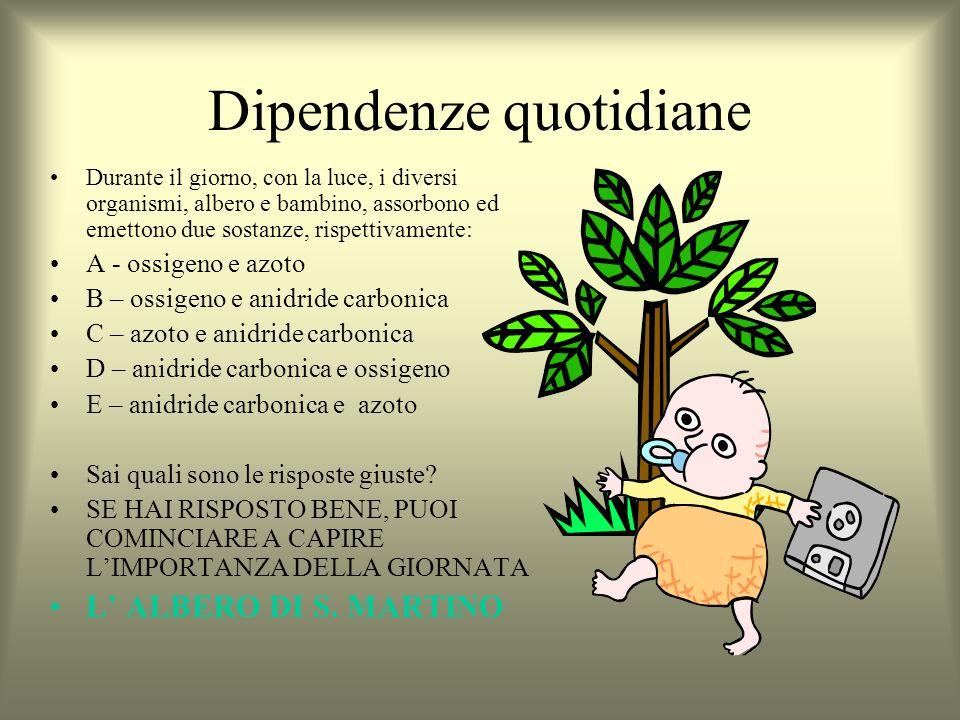 Dipendenze quotidiane Durante il giorno, con la luce, i diversi organismi, albero e bambino, assorbono ed emettono due sostanze, rispettivamente: A -