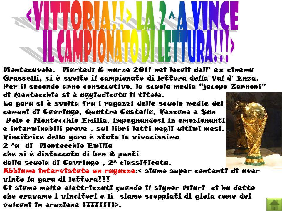 Montecavolo. Martedì 8 marzo 2011 nei locali dell ex cinema Grasselli, si è svolto il campionato di lettura della Val d Enza. Per il secondo anno cons