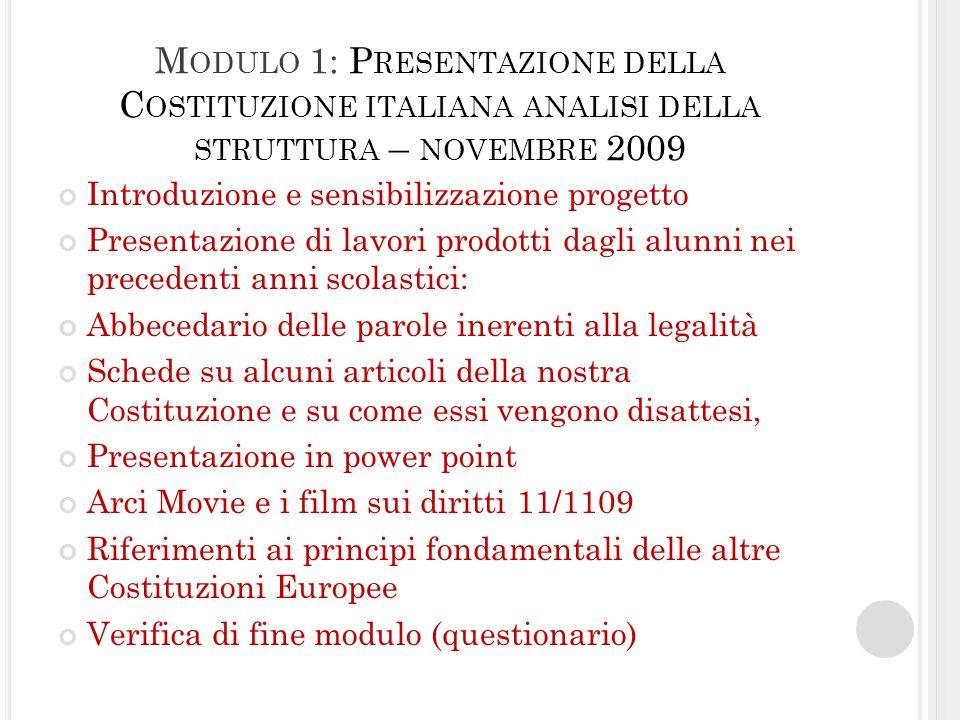 M ODULO 1: P RESENTAZIONE DELLA C OSTITUZIONE ITALIANA ANALISI DELLA STRUTTURA – NOVEMBRE 2009 Introduzione e sensibilizzazione progetto Presentazione