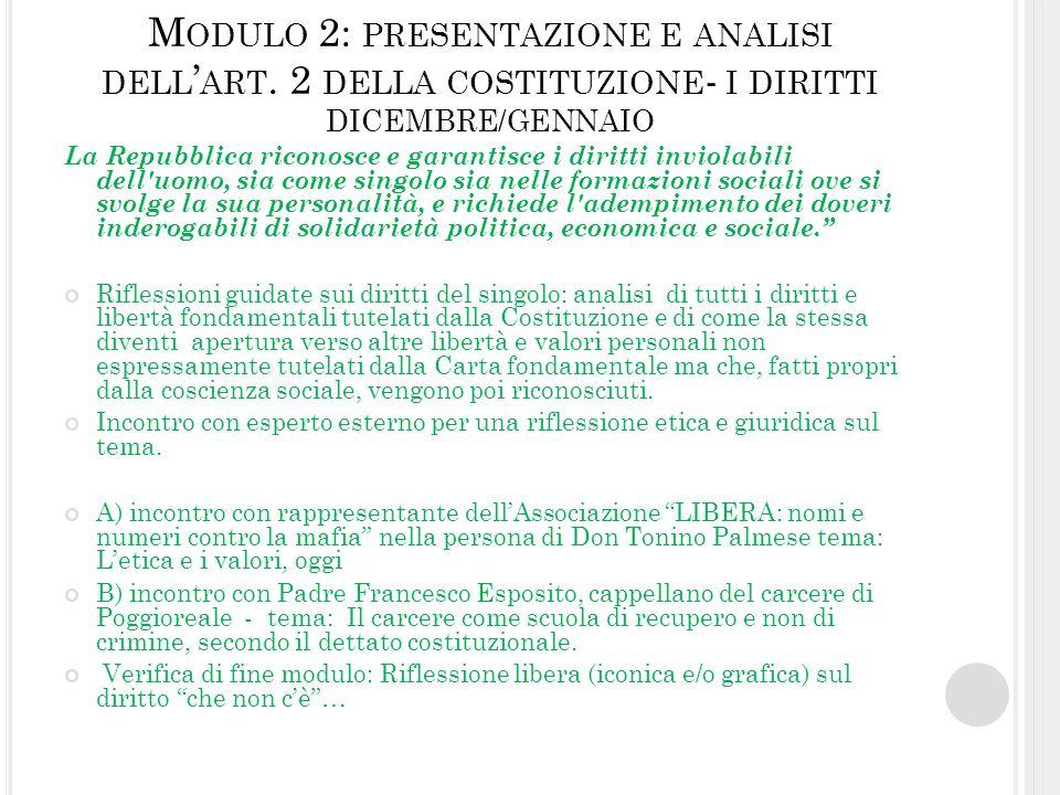 M ODULO 2: PRESENTAZIONE E ANALISI DELL ART. 2 DELLA COSTITUZIONE - I DIRITTI DICEMBRE/GENNAIO La Repubblica riconosce e garantisce i diritti inviolab