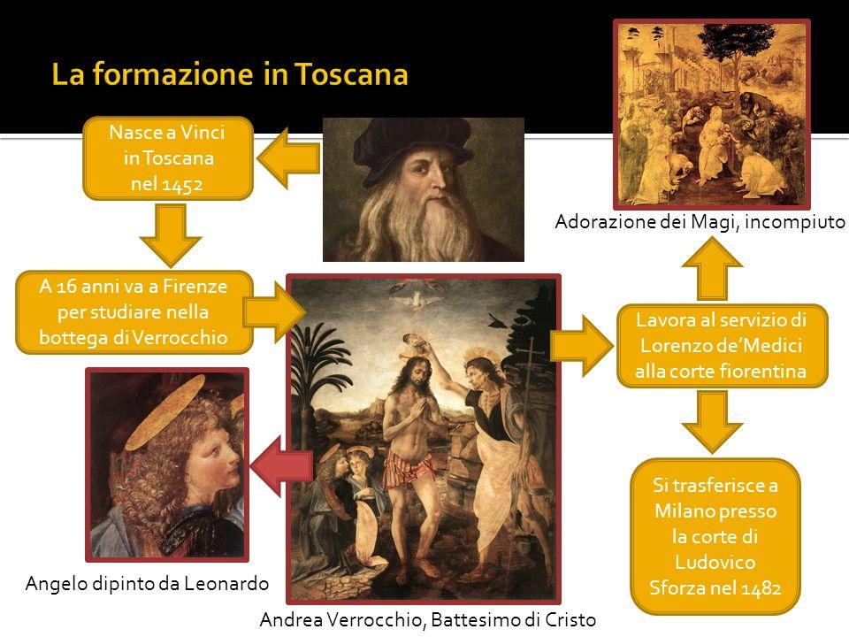Nasce a Vinci in Toscana nel 1452 A 16 anni va a Firenze per studiare nella bottega di Verrocchio Andrea Verrocchio, Battesimo di Cristo Angelo dipint