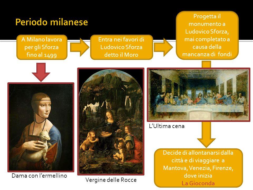 A Milano lavora per gli Sforza fino al 1499 Entra nei favori di Ludovico Sforza detto il Moro Dama con lermellino Vergine delle Rocce Progetta il monu