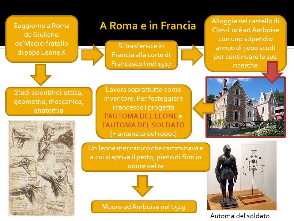 Soggiorno a Roma da Giuliano deMedici fratello di papa Leone X Si trasferisce in Francia alla corte di Francesco I nel 1517 Studi scientifici: ottica,