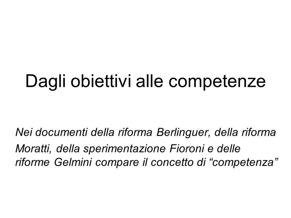 Dagli obiettivi alle competenze Nei documenti della riforma Berlinguer, della riforma Moratti, della sperimentazione Fioroni e delle riforme Gelmini c