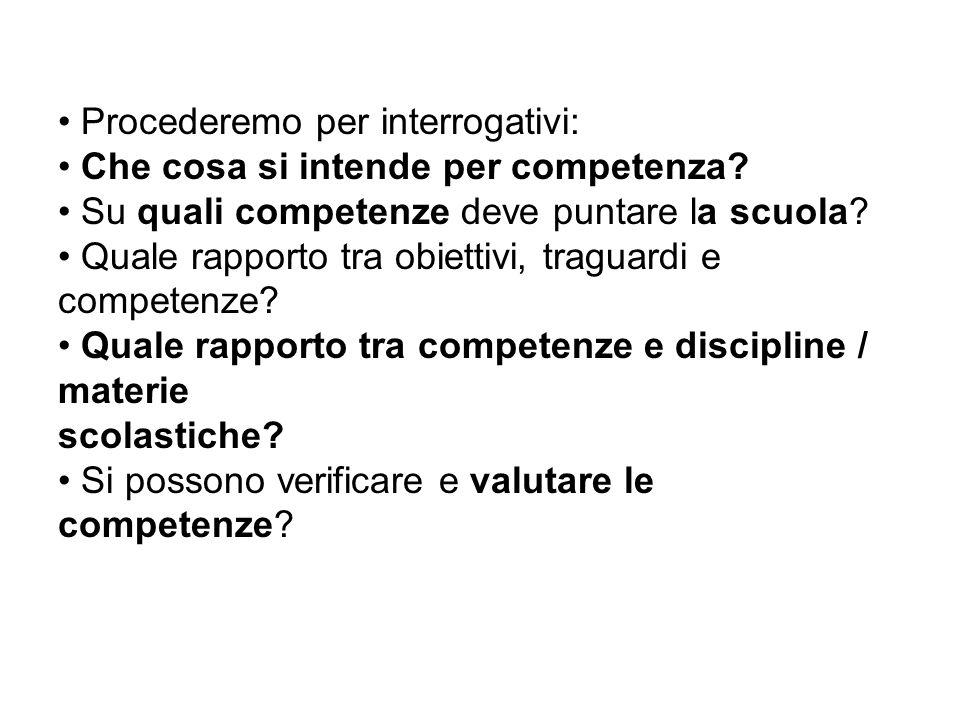 Procederemo per interrogativi: Che cosa si intende per competenza? Su quali competenze deve puntare la scuola? Quale rapporto tra obiettivi, traguardi